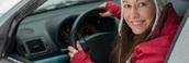 Mujer Conduciend En Invierno